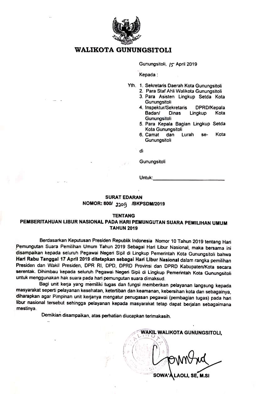 Surat Edaran Pemberitahuan Hari Libur Nasional Pada Pemilu